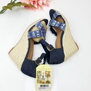 TOMS Sienna Demin Espadrille Wedge Sandal Size 7.5